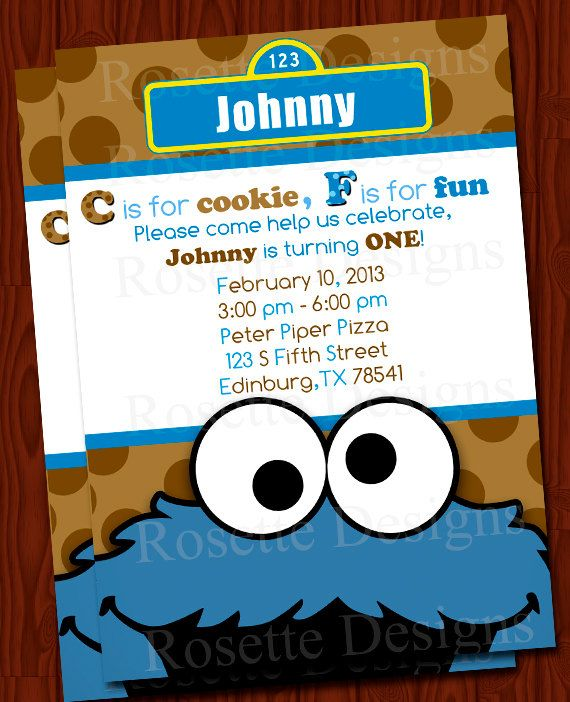 cookie monster birthday invitation digital by rosettedesigns, Birthday invitations