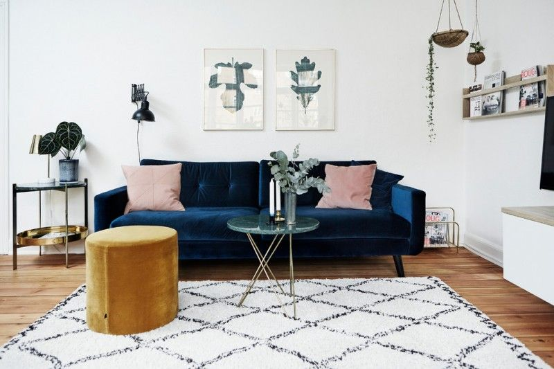 Scandinavian Living Room Dark Blue Velvet Sofa In Modern Style Round Top Coffee Table W Stylish Living Room Interior Design Living Room Velvet Sofa Living Room