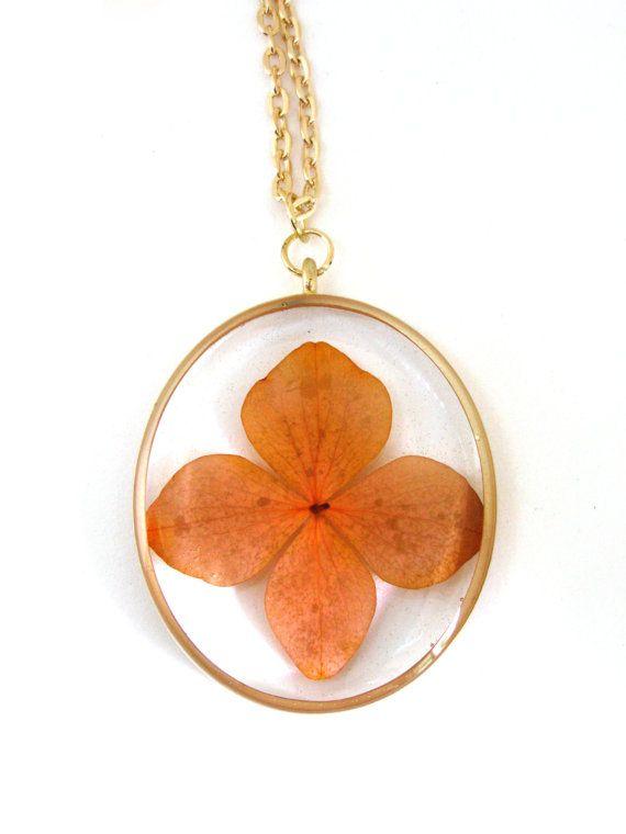 Orange Hydrangea Resin Pendant Necklace - Real orange flower in open back oval bezel, Pressed Flower Jewelry - Resin Jewelry