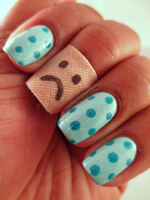 Blue Polka Dots Bandage Band Aid Sad Face Nails Nail Art Nail