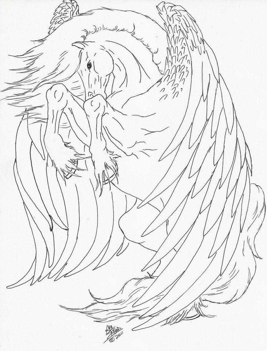 Pegasus line art by Kmsneaddeviantart