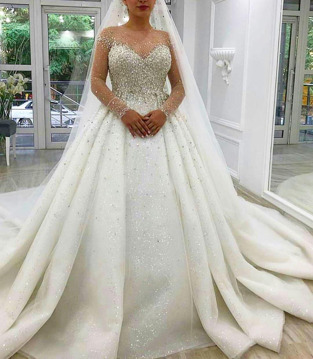 Fall Winter Muslim Long Sleeve Cinderella Wedding Dress Princess Bridal Gowns Long Train Wedding Dress Princess Wedding Dresses Cinderella Ball Gowns Wedding [ 1000 x 1000 Pixel ]