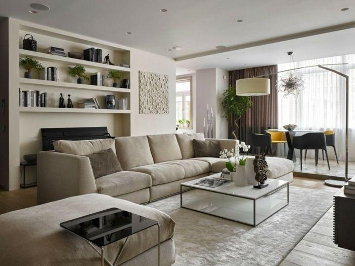 wohnung design - wohnzimmer mit eingebautem regal in der wand, Wohnzimmer entwurf