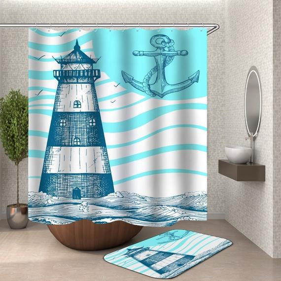 Nautical Shower Curtaian Lighthouse Shower Curtains Blue White Sea
