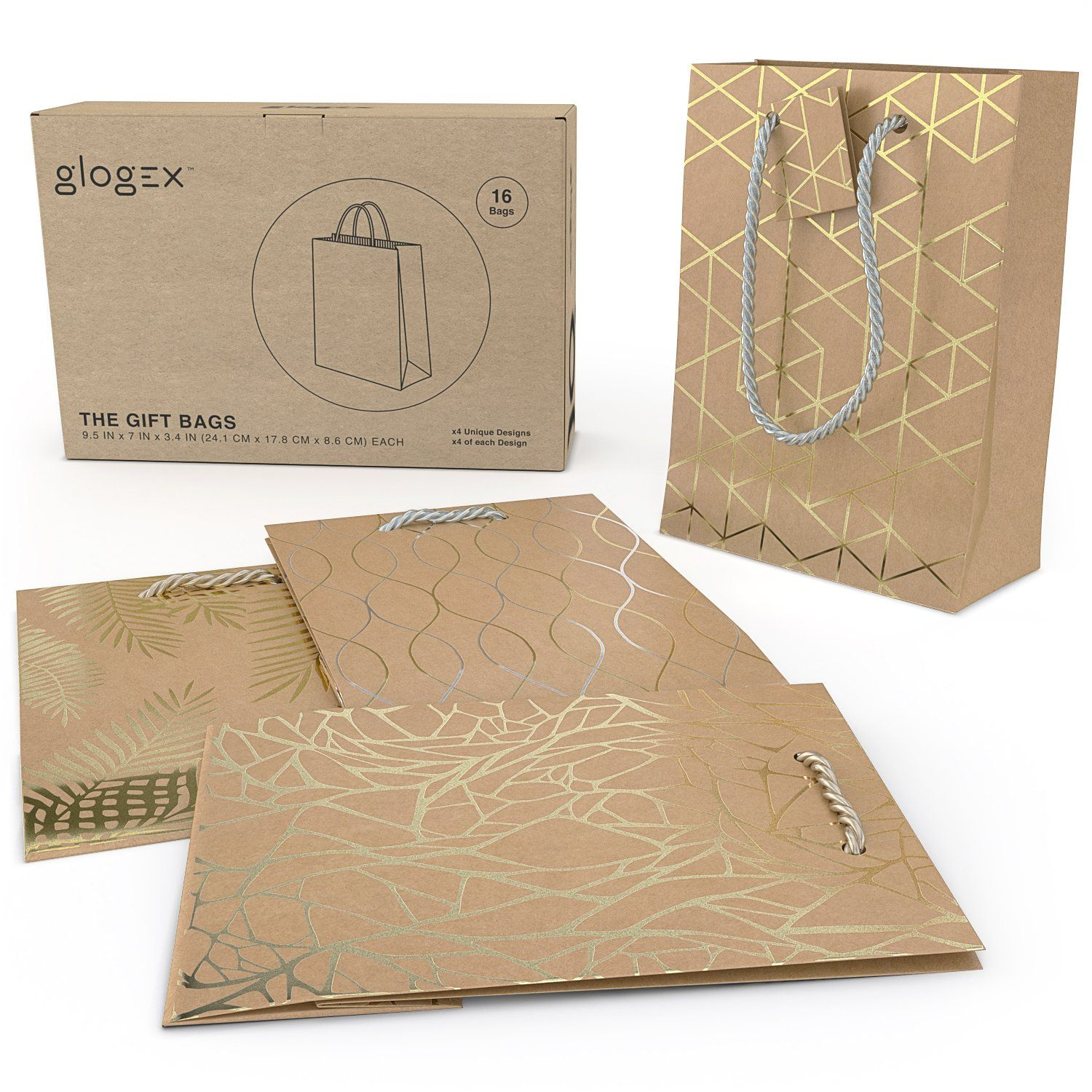 Glogex Gift Bags Kraft Paper Gifts Bag For Birthday Weddings Presents Set Of 16 4 Designs Click On The Image Additional Details