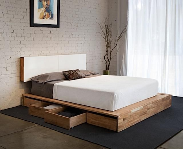 Diy Platform Beds Platform Bed With Storage On One Side
