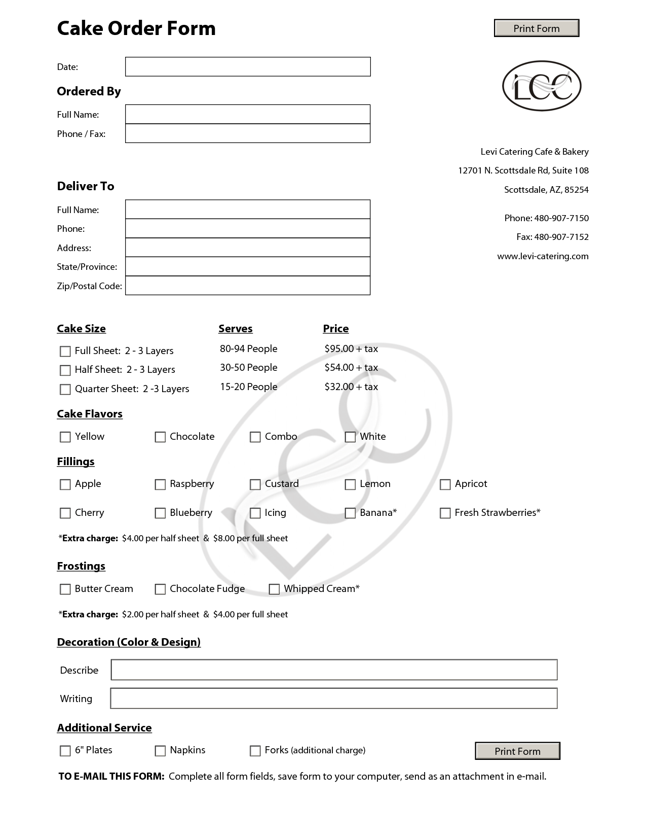 Wedding Cake Contract Template