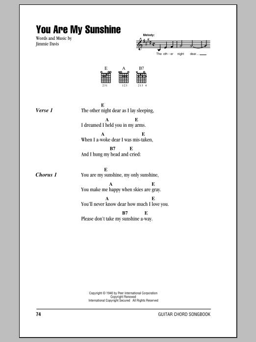 You Are My Sunshine By Jimmie Davis Guitar Chordslyrics Guitar