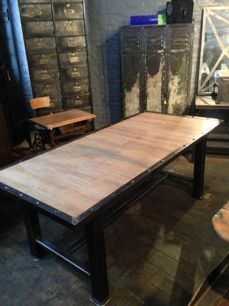 Magnifique table industrielle en bois et m tal style mobilier industriel table de cuisine - Table cuisine pin ...