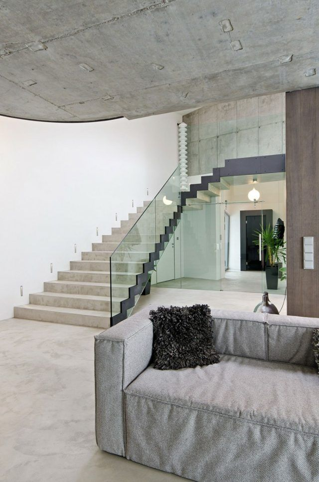 Deckengestaltung Treppe Glas Geländer Moderne Minimalistisch