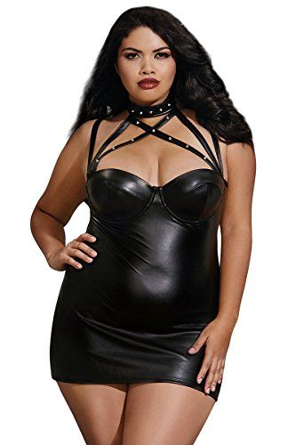 ea0a5f38dac Plus Size Sexy Underwire Faux Leather Studded Chemise Lingerie ...