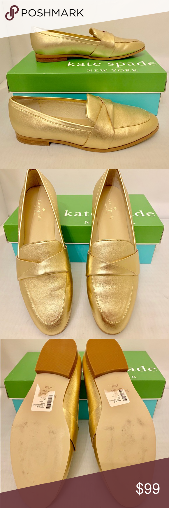 5765eec4924 Kate Spade Satchi Metallic Gold Loafers Gold metallic leather uppers.  Classic slip on Loafer style