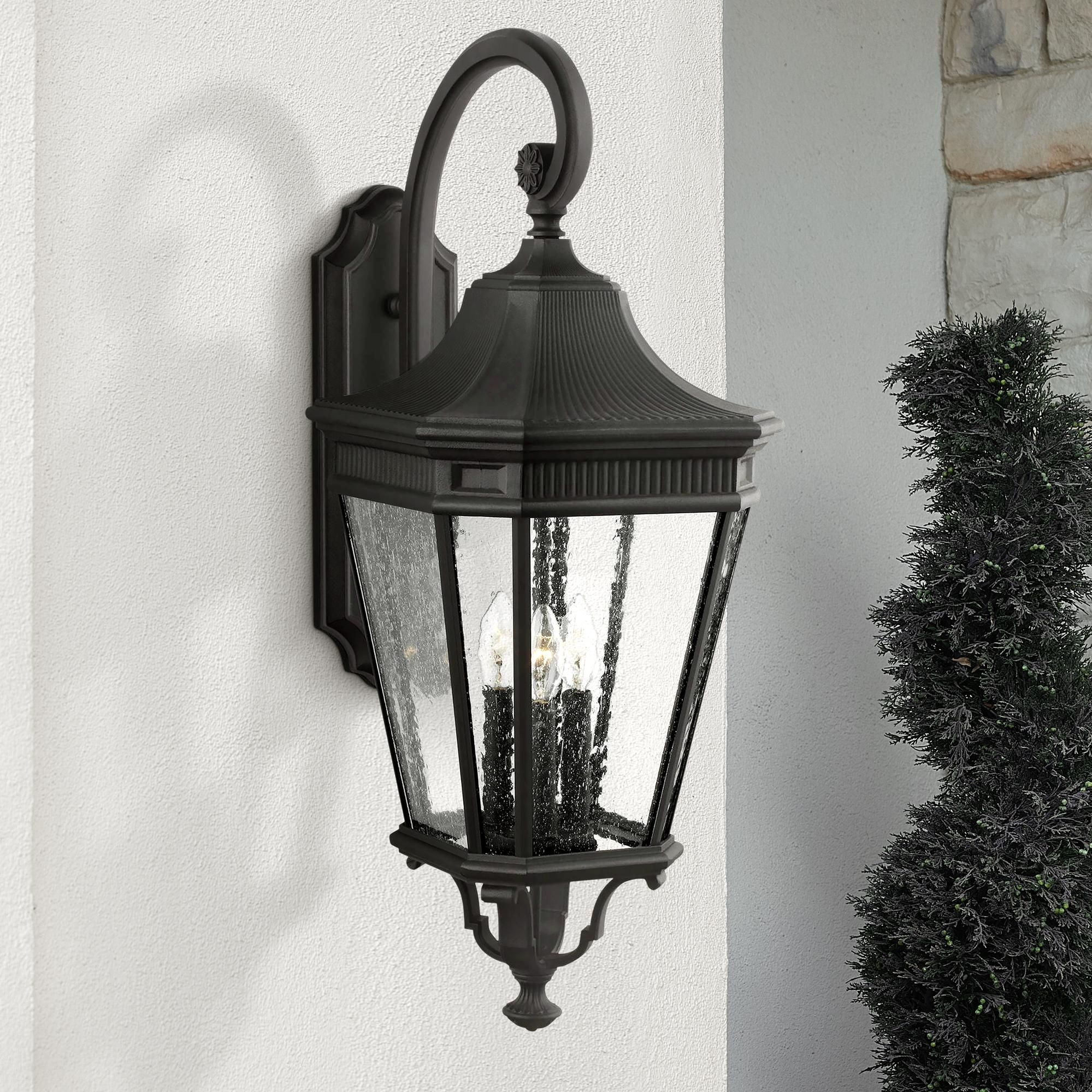 Feiss Cotswold Lane 30 Inch High Black Outdoor Wall Light