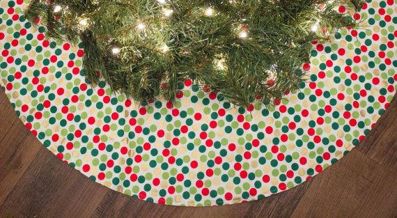 Christmas Tree Skirt-Red-Metallic God-Green-Dots-Holiday Decoration
