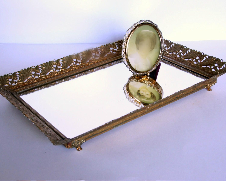Vintage Vanity Tray Large Mirror Tray Gold Dresser Tray Ornate Perfume Tray Hollywood Regency Boudoir By Sen Mirror Tray Vintage Vanity Tray Vintage Mirror