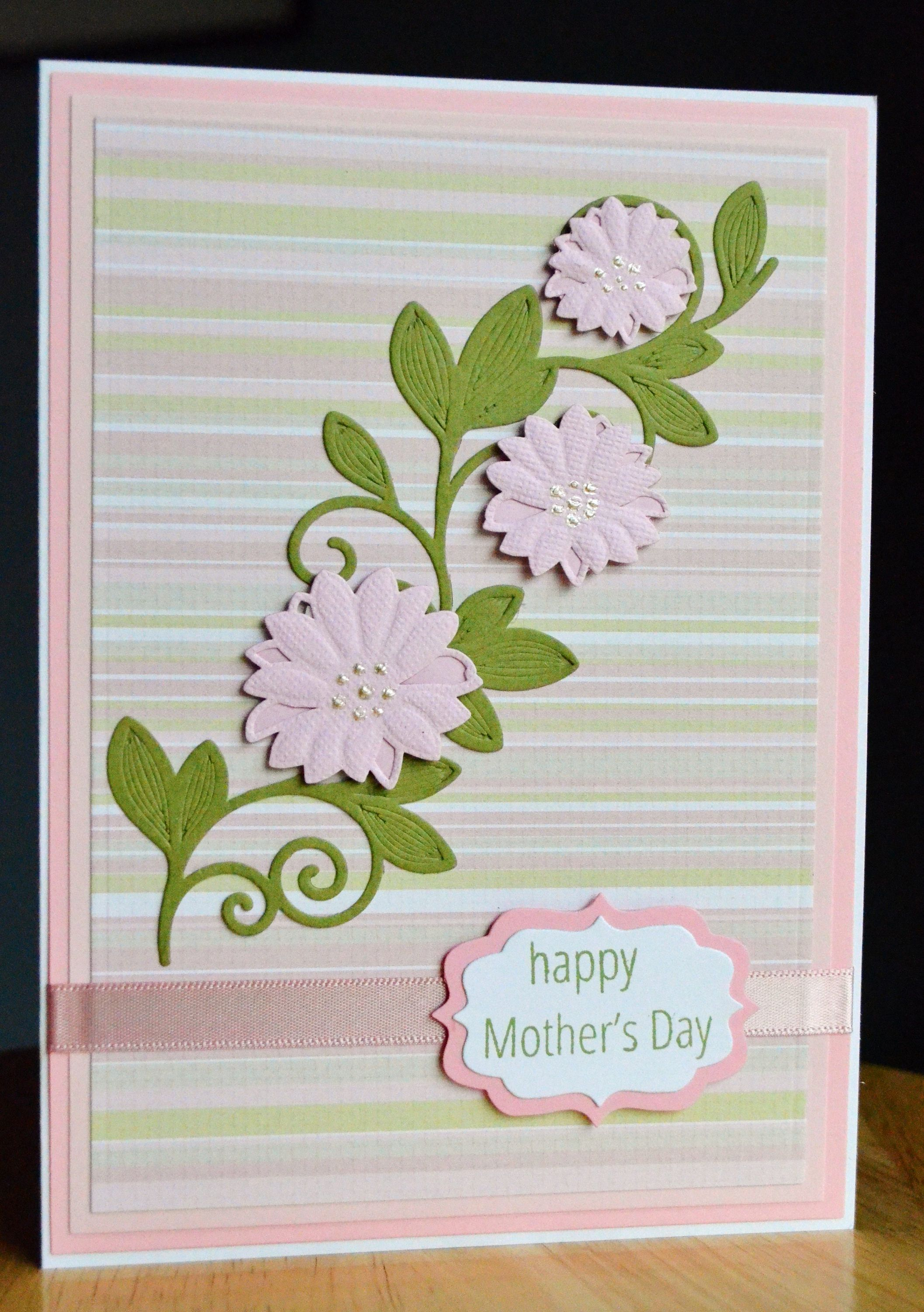 Handmade Mother's Day or Happy Birthday Card-Handmade Card with Branch of Pink Flowers by TreasureIslandCards on Etsy