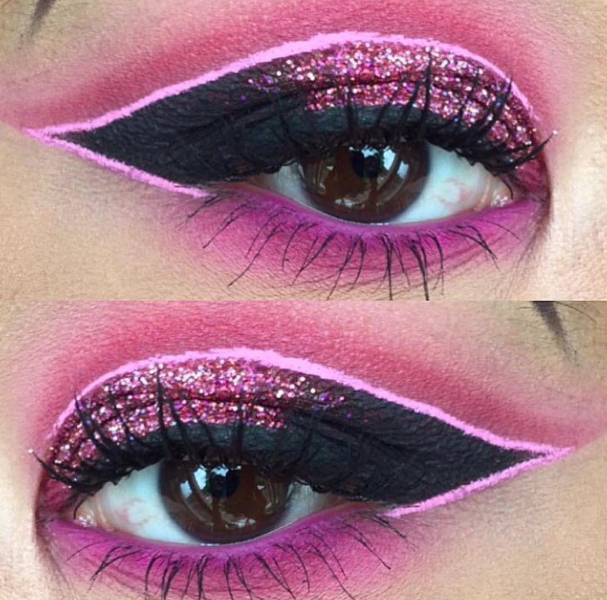 Holo Glitter Shaker Makeup Makeup, Cut crease, Red