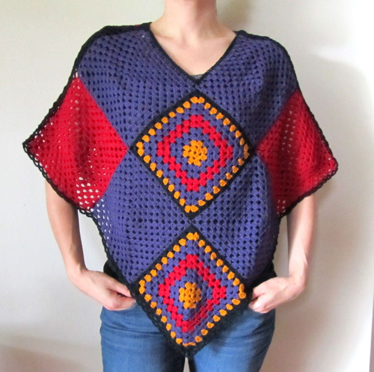 Large crochet poncho – Large square motif poncho in red, purple and sunflower yellow …