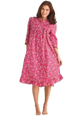 Short woven print sleep gown by Dreams & Co® | Plus Size Sleep Gowns | Woman Within