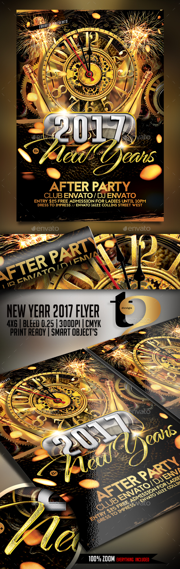 New Year 2017 Flyer Templates — Photoshop PSD #cocktail #2017 party • Download ➝ https://graphicriver.net/item/new-year-2017-flyer-templates/19098679?ref=pxcr