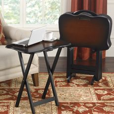 Turino 5-Piece Snack Table Set & Turino 5-Piece Snack Table Set | Antique wood Wood veneer and Trays
