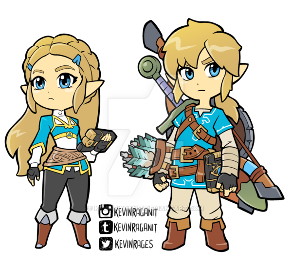 Zelda And Link Breath Of The Wild By Kevinraganit Deviantart Com On Deviantart Legend Of Zelda Breath Of The Wild Link Chibi