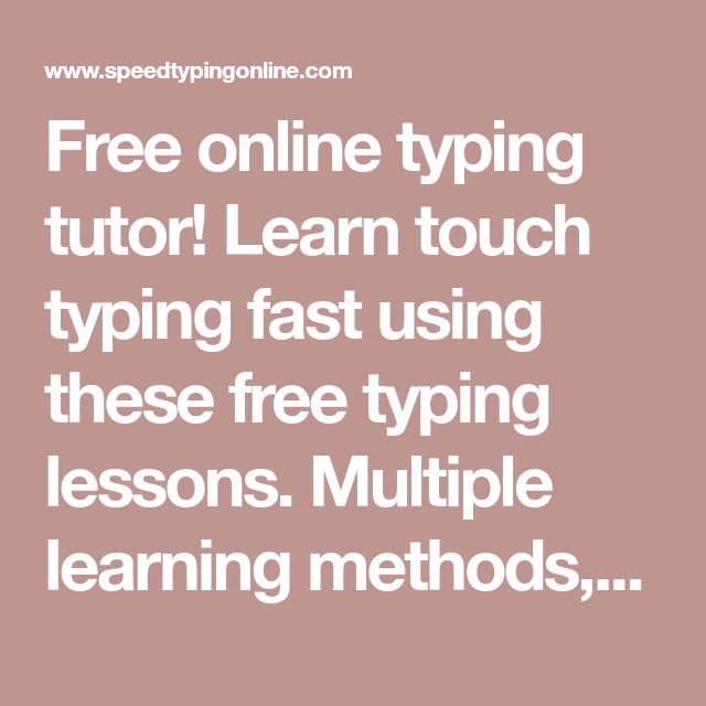 Free Online Typing Tutor Learn Touch Typing Fast Using These Free