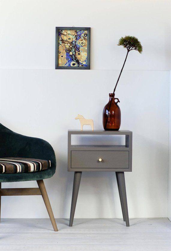 Best Gray Solid Oak Nightstand Bedside Table Bedroom 640 x 480