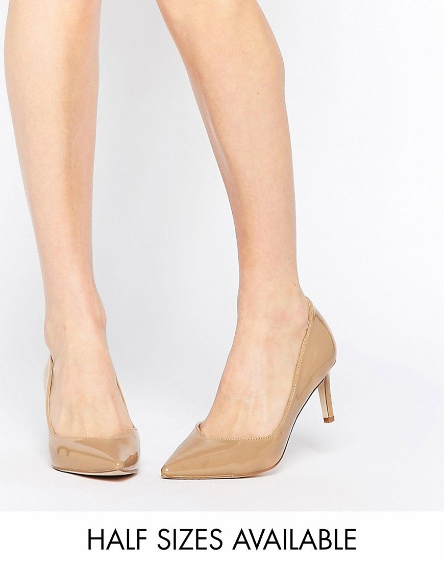ASOS SOULMATE Pointed Heels in toffee nude patent  was 35 21