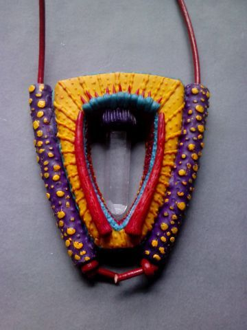Polymer clay pendant with crystal by Shelley Atwood