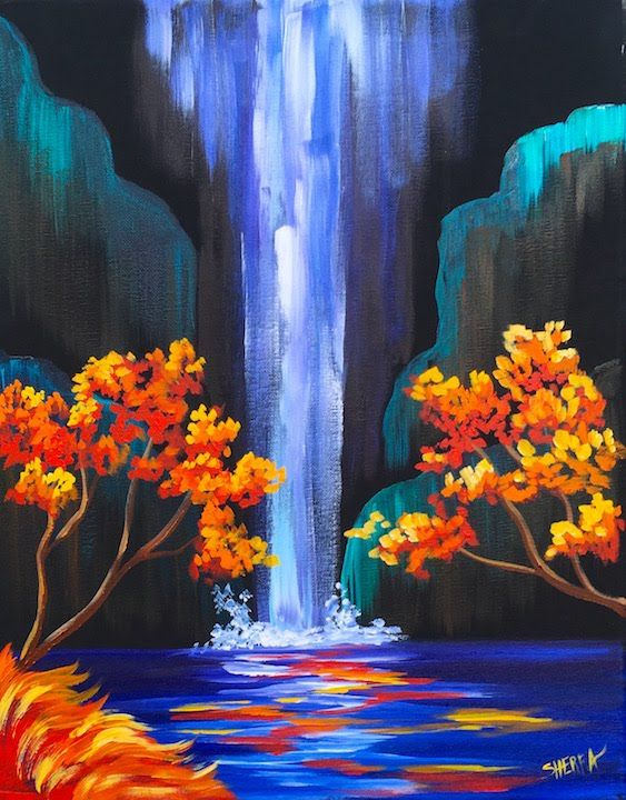 Autumn Aloha Tropical Waterfall Step By Acrylic Painting On Canvas