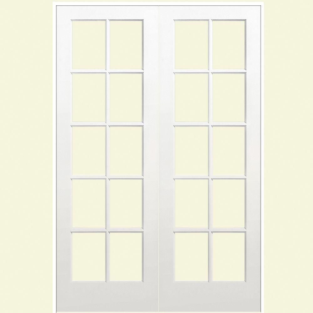 Smooth 10 Lite Solid Core Primed Pine Double Prehung Interior French Door 468338 At The Home Depot
