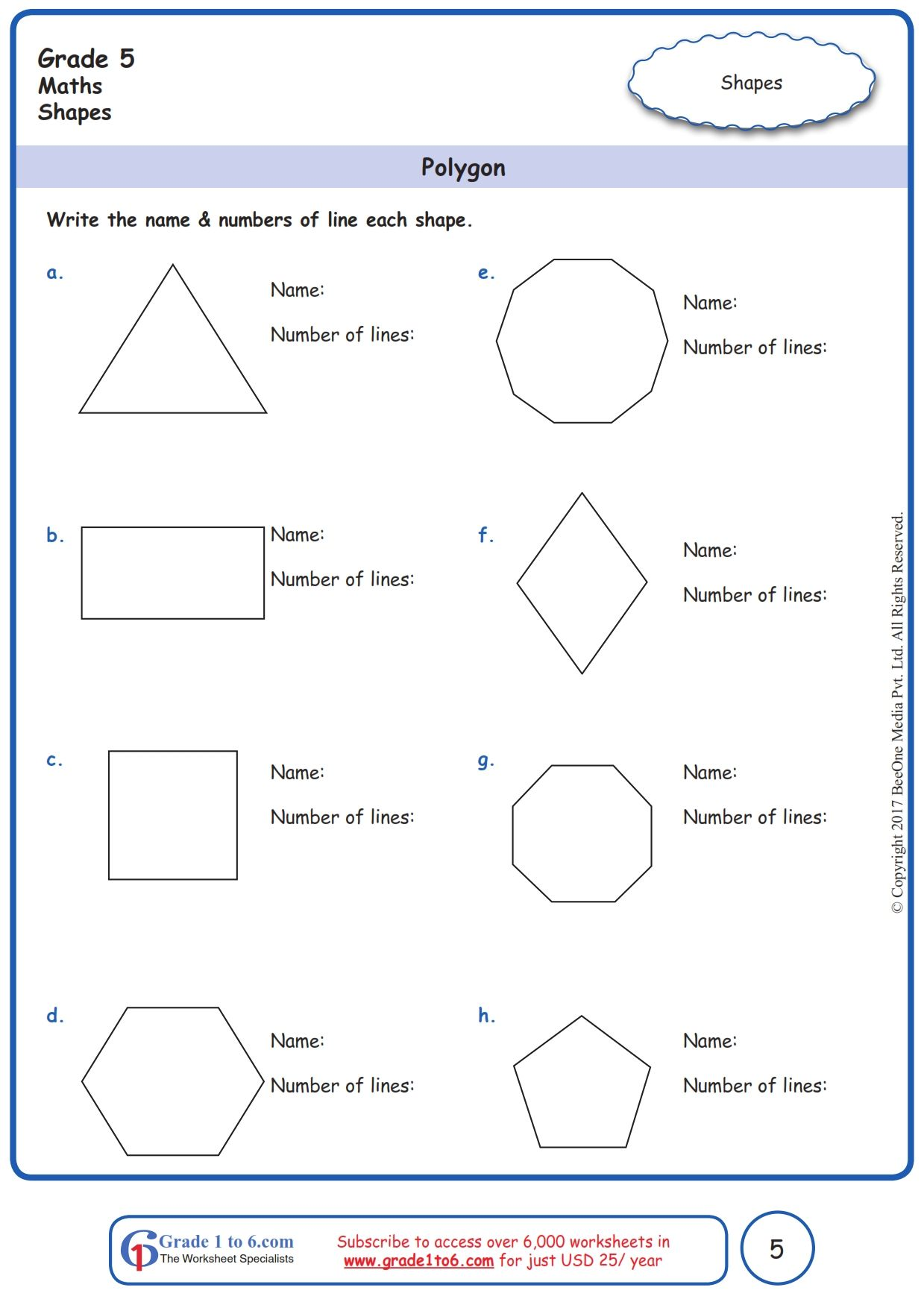 Worksheet Grade 5 Math Polygon