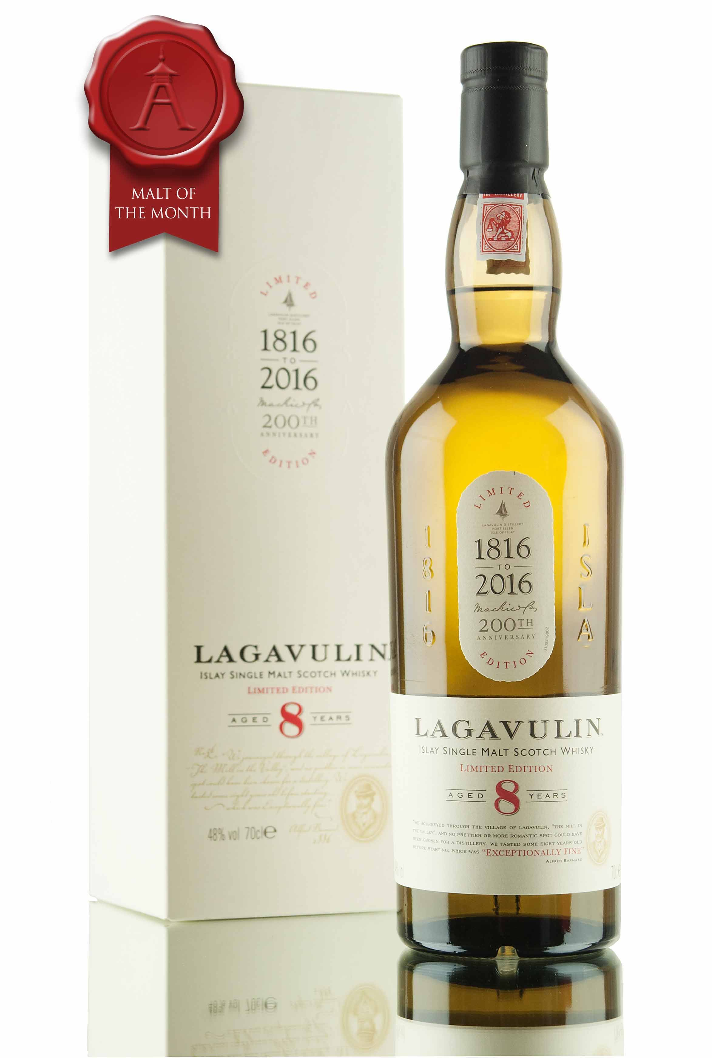 Malt of the Month for April 16 is this 8 year old Lagavulin. Bottled to celebrate the 200th Anniversary (1816 - 2016) of this much loved Islay distillery.
