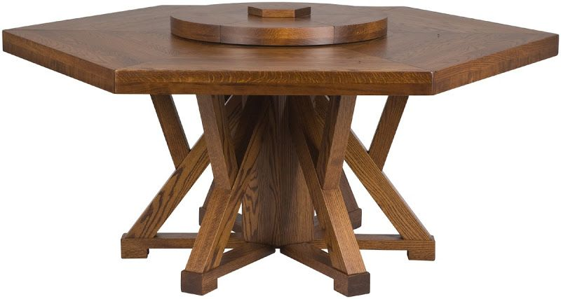 66 Inch Diameter 6 Sided Niagra Table With Lazy Susan