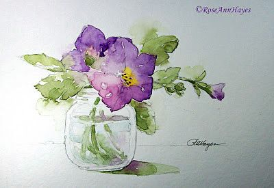 Watercolor Paintings by RoseAnn Hayes: Petunias