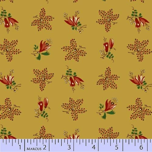 Gold Floral  Mill Girls   Civil War by PrimitiveQuilting on Etsy, $5.30