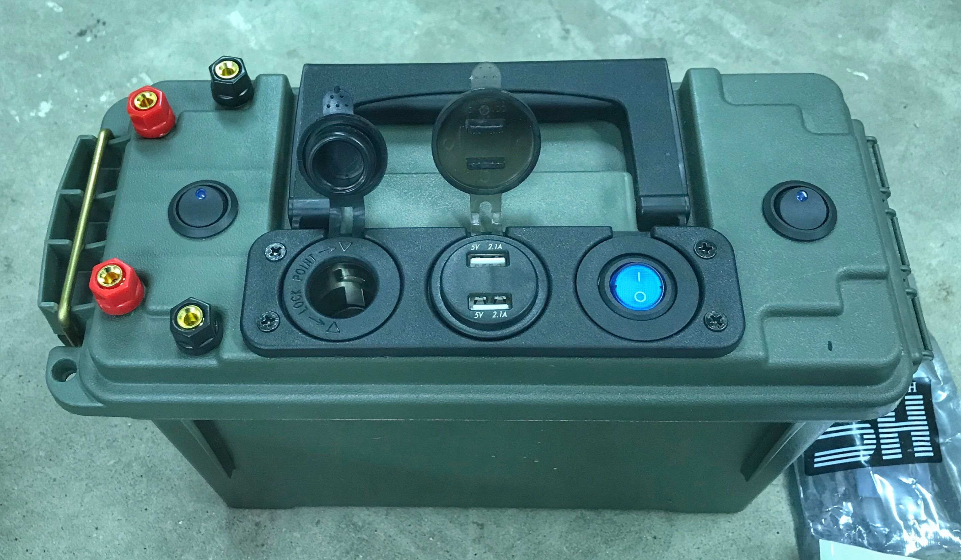small resolution of 12 volt battery box volt meter illuminates between usb plugs left switch controls posts right switch controls leds mounted on side