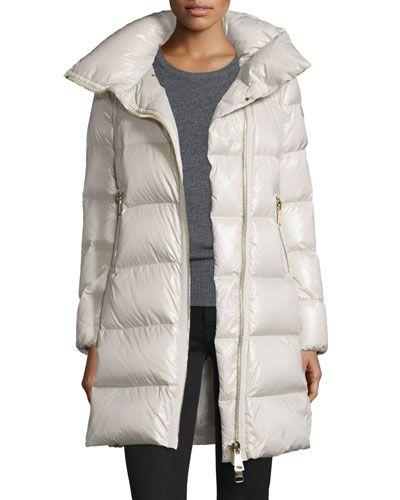 moncler joinville long asymmetric puffer jacket moncler cloth rh pinterest com