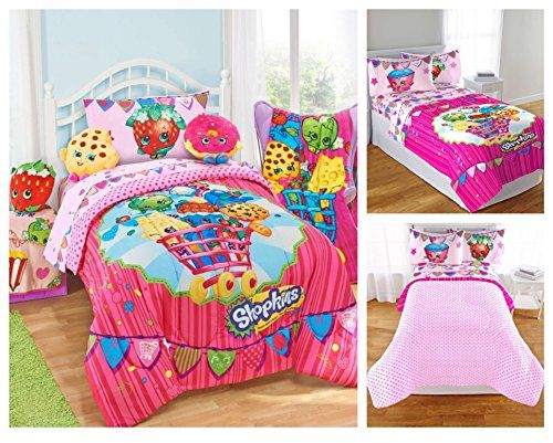 Shopkins Kids 5 Piece Bed in a Bag Full Size Bedding Set - Reversible Comforter, Microfiber Sheets & Pillow Cases images