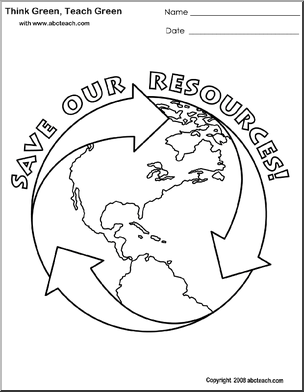 Think Green Coloring Pages Abcteach Coloring Pages Earth Day Activities Green Name