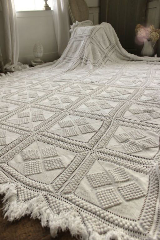 Vintage French crochet bed cover coverlet bedspread lace ...