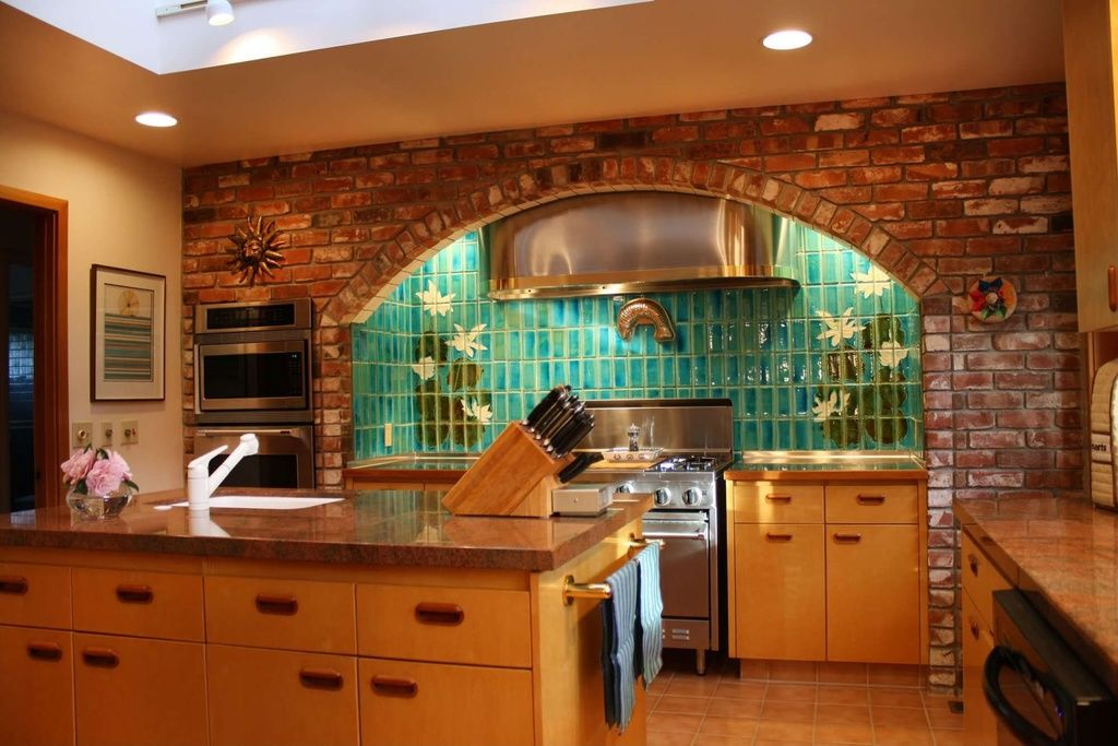 Eclectic Kitchen with Ms International Red Dragon Granite, flush