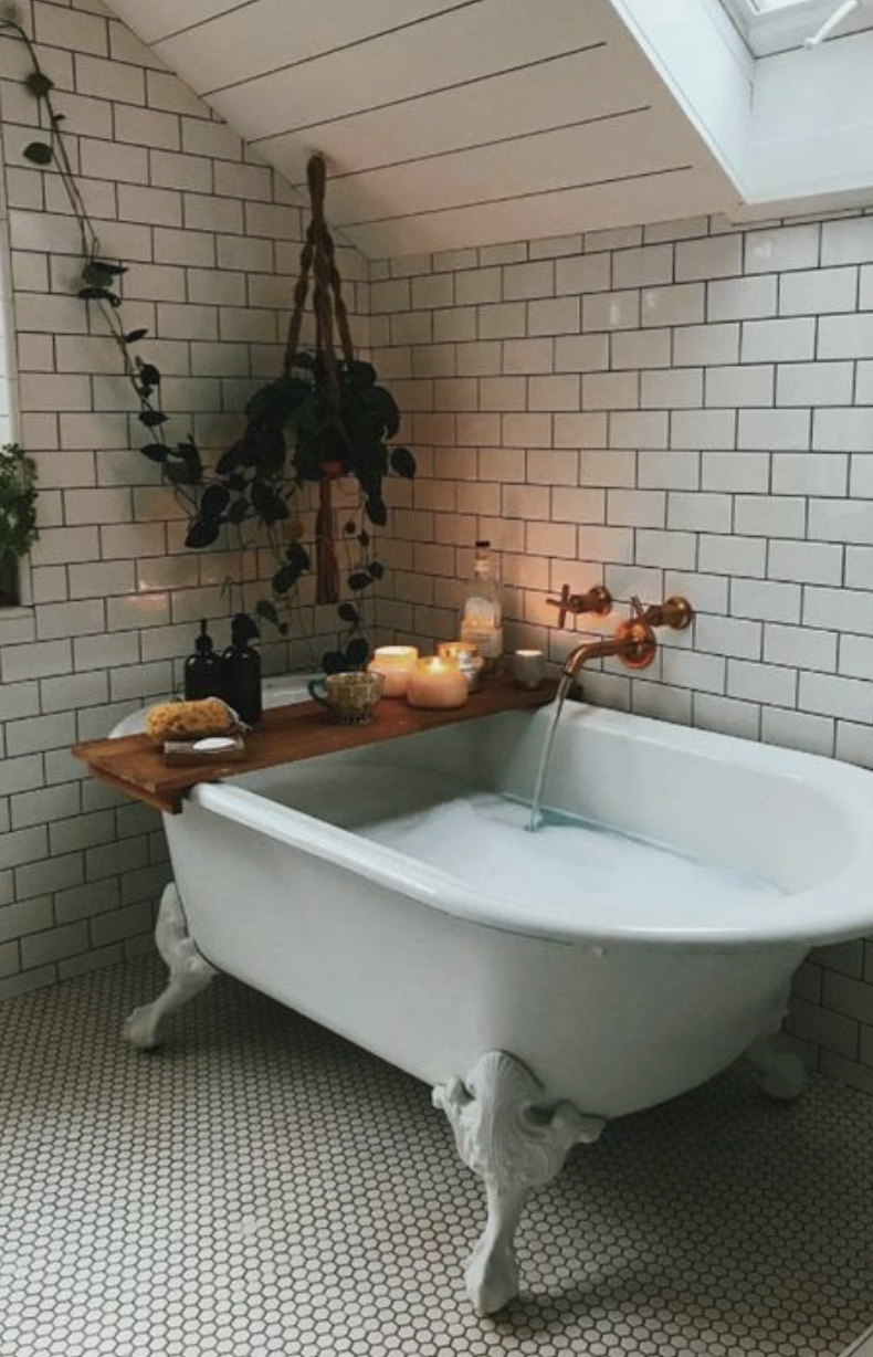 white tiles + old fashioned bath tubs #homedecor | home | Pinterest ...