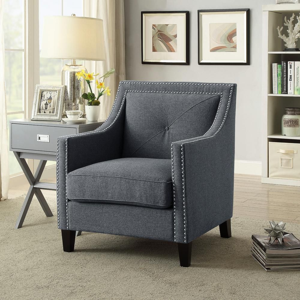 Inspired Home Roosevelt Charcoal Grey Linen Accent Chair with Single