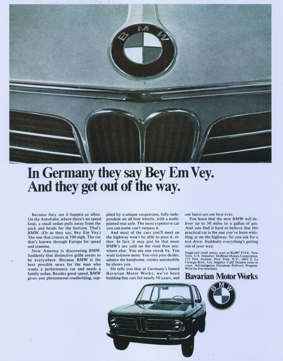 1968 Bmw Car Ad Gift For Him Automotive Advertisement Poster Print