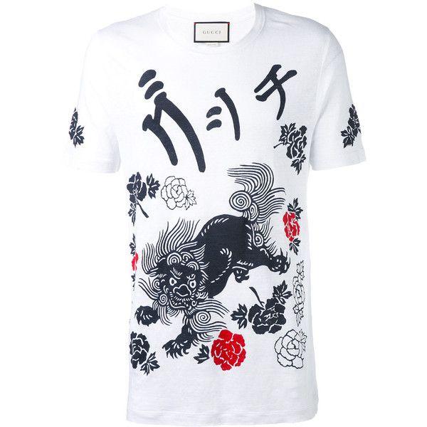 1760cfefb Gucci L'aveugle par amour dragon t-shirt ($560) ❤ liked on Polyvore  featuring men's fashion, men's clothing, men's shirts, men's t-shirts,  white, ...