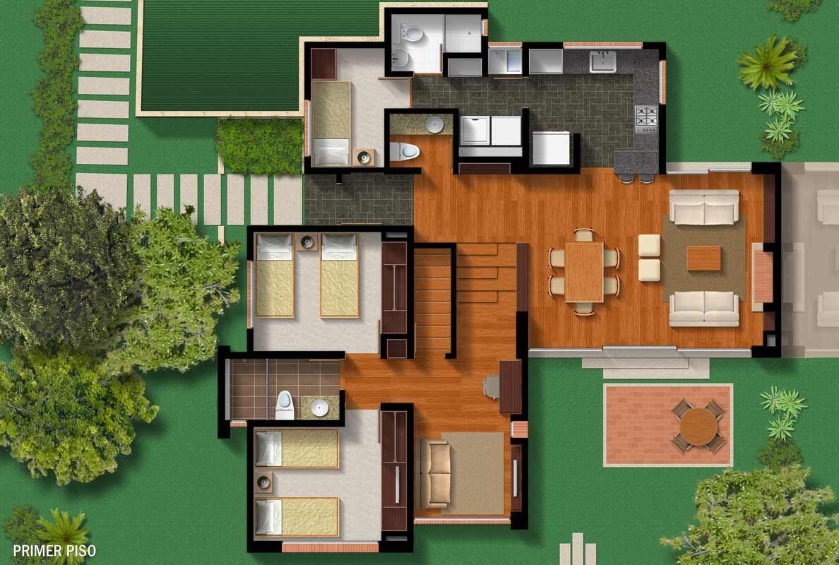 Distribuci n de casas de campo proyectos casas de campo for Planos de casas campestres de dos plantas