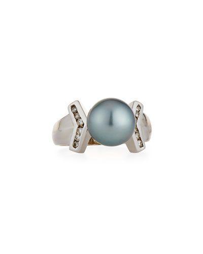 Belpearl 14k Tahitian Pearl & Diamond Ring, Size 6.5