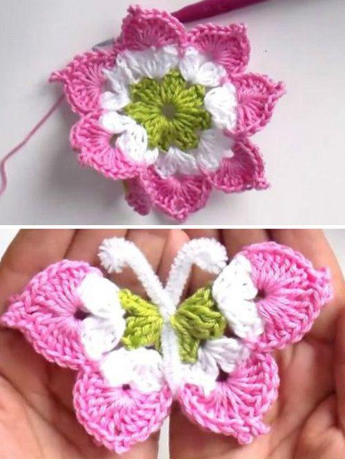 Crochet 3D Butterfly - Tutorial (Beautiful Skills - Crochet Knitting ...